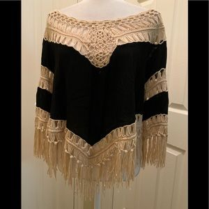 Dreamers Black top with ivory crochet and fringe